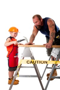 Father and son carpenter job